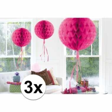 Feestversiering roze versiering bollen 30 cm set van 3