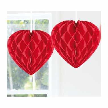 Feestversiering versiering hart rood 30 cm