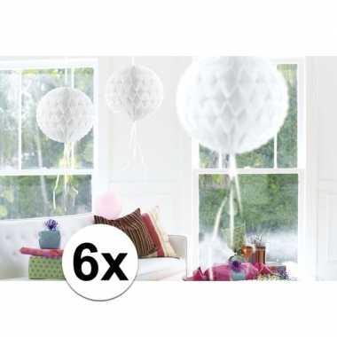Feestversiering witte versiering bollen 30 cm set van 3