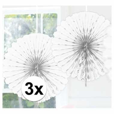 Feestversiering witte versiering waaier 45 cm drie stuks