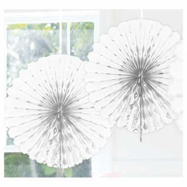 Feestversiering witte versiering waaier 45 cm