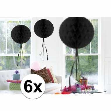 Feestversiering zwart versiering bollen 30 cm 6 stuks