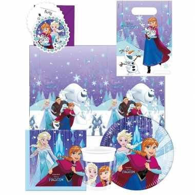 Frozen blauw paars kinderfeest tafelversiering pakket 6 personen