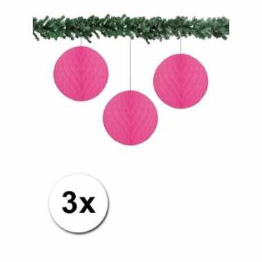 Fuchsia kerstversiering ballen van papier 10 cm 3 stuks