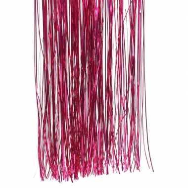 Fuchsia roze kerstversiering folie slierten 50 cm