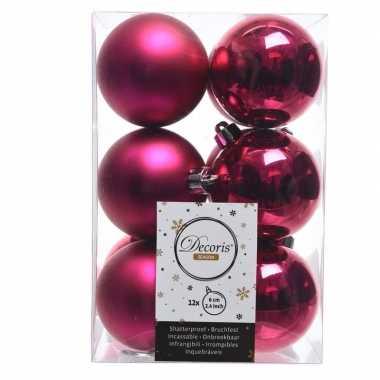 Fuchsia roze kerstversiering kerstballen kunststof 6 cm
