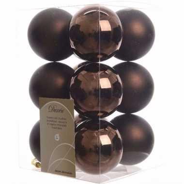 Glamour christmas kerstboom versiering kerstballen bruin 12 x