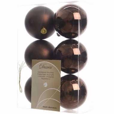 Glamour christmas kerstboom versiering kerstballen bruin 6 x