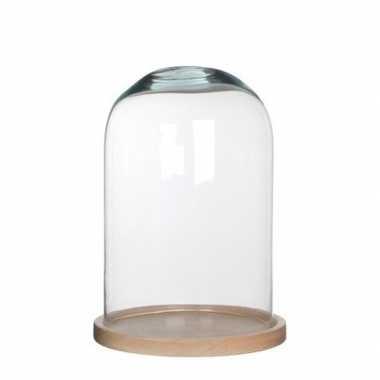Glazen versiering stolp hella op houten plateau 21 x 30 cm