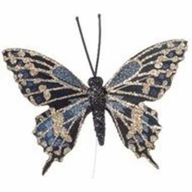 Goud/blauwe vlinder kerstversiering steker versiering 6 cm