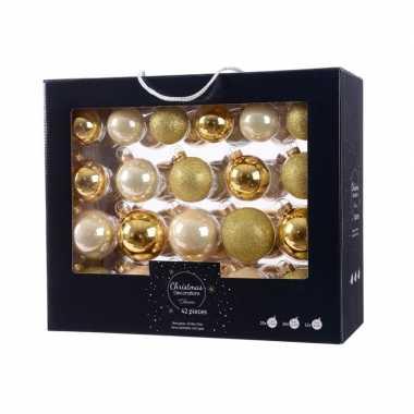 Goud champagne kerstversiering kerstballen set 42 delig van glas