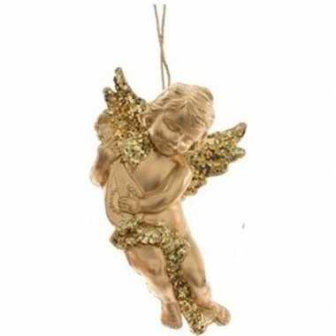 Gouden engel met lute kerstversiering hangversiering 10 cm
