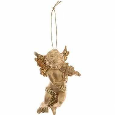Gouden engel met viool kerstversiering hangversiering 10 cm