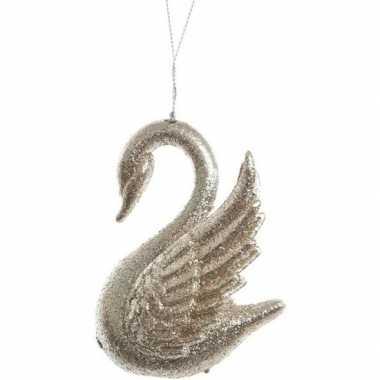 Gouden glitter zwaan kerstversiering hangversiering 10 cm