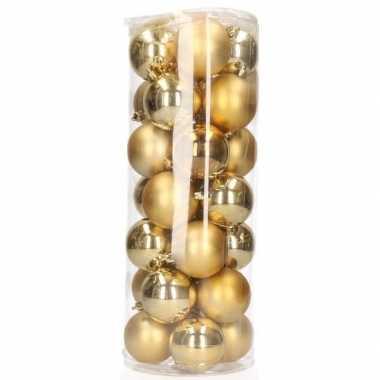 Gouden kerstballen 28 stuks 6 cm kerstversiering