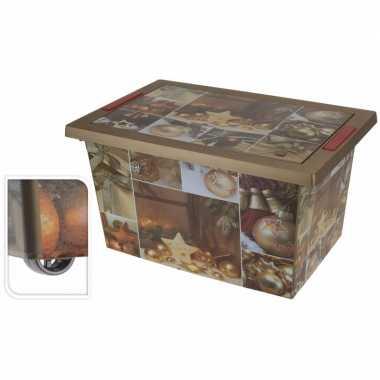 Gouden kerstballen/kerstversiering opbergbox op wieltjes 58 cm