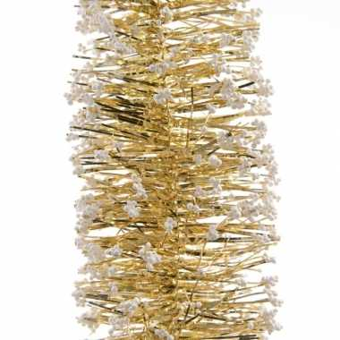 Gouden kerstversiering folie slinger met sneeuw 200 cm