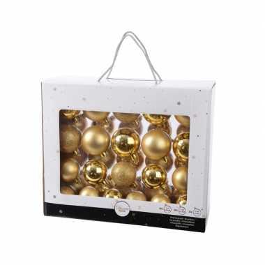 Gouden kerstversiering kerstballen set 42 delig van kunststof