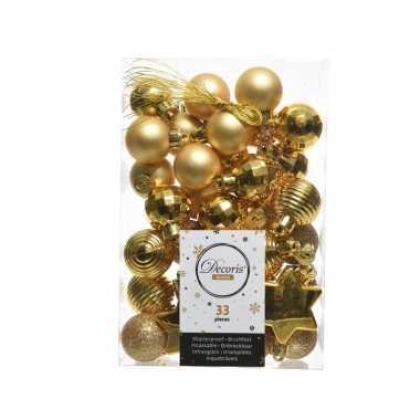 Gouden kerstversiering kerstballenset 33 stuks