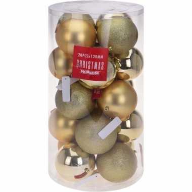 Gouden kerstversiering kerstballenset kunststof 12 cm
