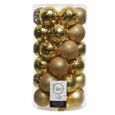 Gouden kerstversiering kerstballenset kunststof 6 cm 36 stuks