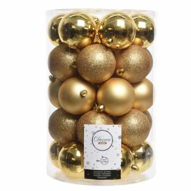 Gouden kerstversiering kerstballenset kunststof 8 cm