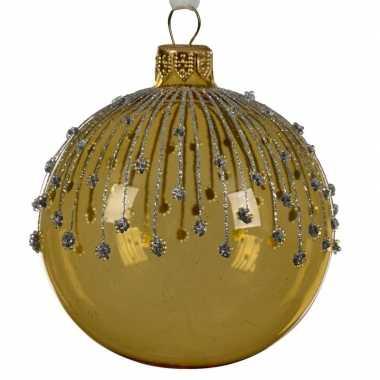 Gouden kerstversiering transparante kerstballen van glas 8 cm