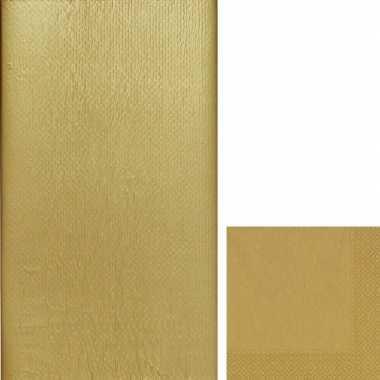 Gouden tafelversiering set tafelkleed servetten