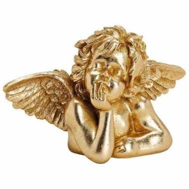 Gouden versiering engel beeldje 23 cm