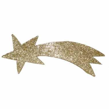 Gouden versiering vallende ster met glitters 31 x 11 cm