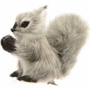 Grijze eekhoorn kerstversiering clip versiering 8 cm
