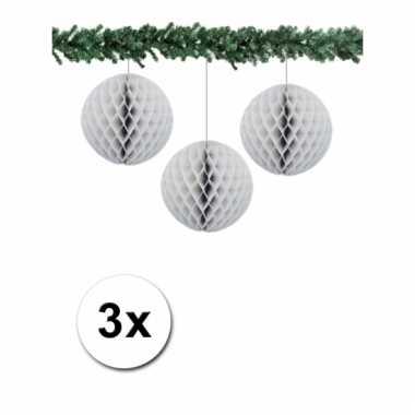 Grijze kerstversiering ballen van papier 10 cm 3 stuks