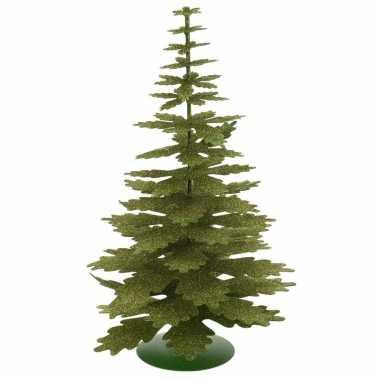Groen glitter kerstboompje versiering 35 cm