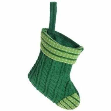 Groene kerstsok voor huisdier hangversiering 21 cm
