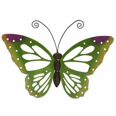 Grote groene vlinders/muurvlinders 51 x 38 cm cm tuinversiering