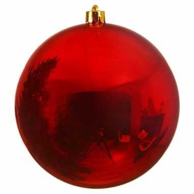 Grote raam/deur versiering rode kerstbal van 14 cm