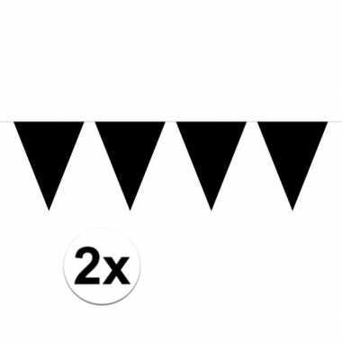 Halloween 2x mini vlaggenlijn / slinger versiering zwart