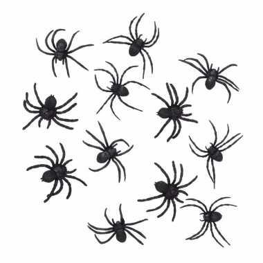 Halloween 36 zwarte versiering spinnetjes 8 cm
