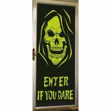 Halloween deur versiering poster met skelet