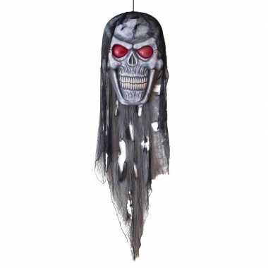 Halloween halloween versiering doodshoofd pop met licht 75 cm