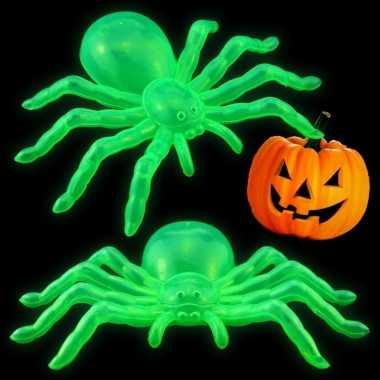 Halloween halloween versiering glow in the dark spinnen 14 cm 2x stuk