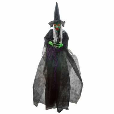 Halloween halloween versiering heks pop met licht en geluid 180 cm