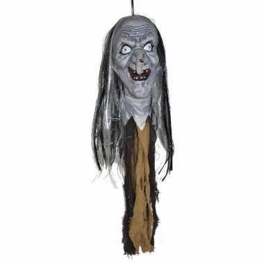 Halloween halloween versiering heksenhoofd met licht 70 cm