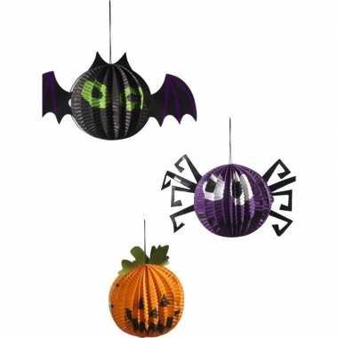 Halloween hangversierings pompoen vleermuis en spin