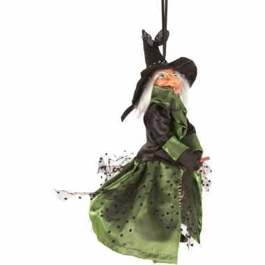 Halloween heks hangversiering pop groen/zwart 25 cm halloween versier