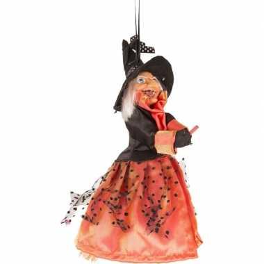 Halloween heks hangversiering pop rood/zwart 25 cm halloween versieri