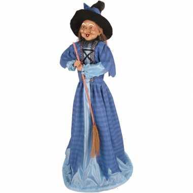 Halloween heks versiering pop blauw 70 cm halloween versiering