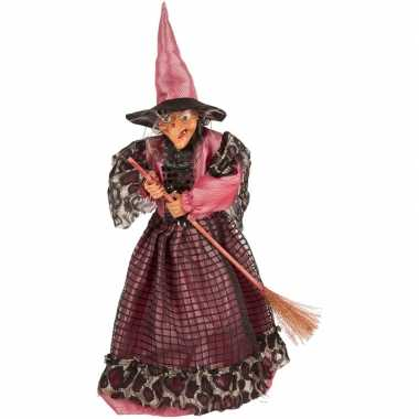 Halloween heks versiering pop fuchsia/zwart 40 cm halloween versierin