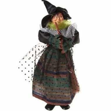 Halloween heks versiering pop groen/zwart 25 cm halloween versiering