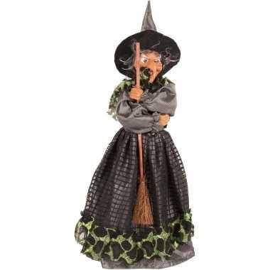 Halloween heks versiering pop groen/zwart 40 cm halloween versiering